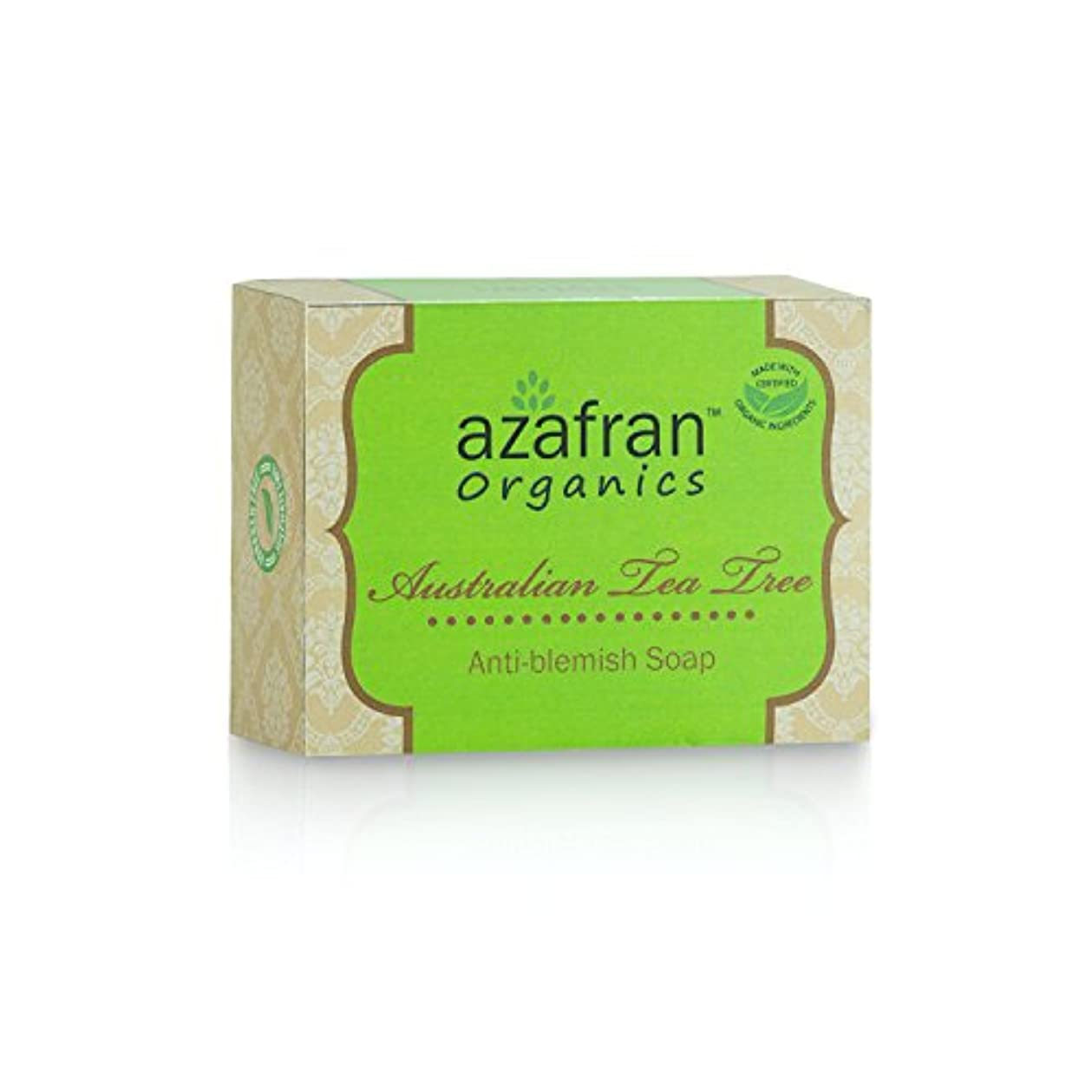 乳白作り上げる予防接種Azafran Organics Australian Tea Tree Anti-Blemish Soap, 100g
