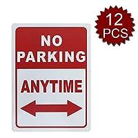 プレミアムアルミ製駐車場はありませんいつでも矢印でサインイン 道路標識をブロックしない UVプリント - No Parking/12個入り - 25cm W x 35cm L