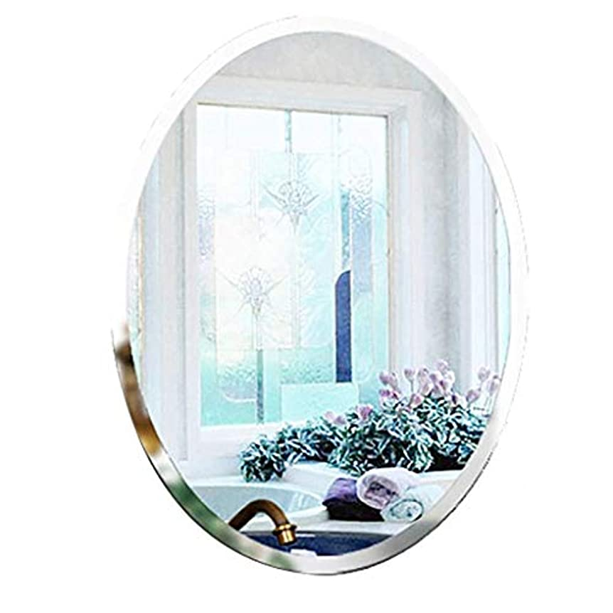 テスピアンポルトガル語聖域Selm 壁掛け化粧鏡、オーバルフレームレス浴室用ミラー壁掛け固定金具ハードウェア用バスルーム洗面所50CMx70CM