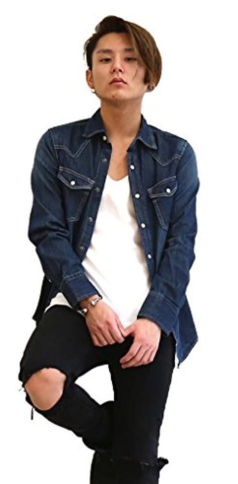 治世バン必要とするデニムシャツ メンズ デニム ヴィンテージ ウォッシュ 長袖 ウエスタン コーデ NAVY(紺色) Mサイズ