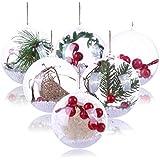Koogel 20 Pcs 3Inch Clear Ornaments Balls, DIY Ornament Ball Christmas Transparent Ball Baubles Craft Transparent Ball Gifts