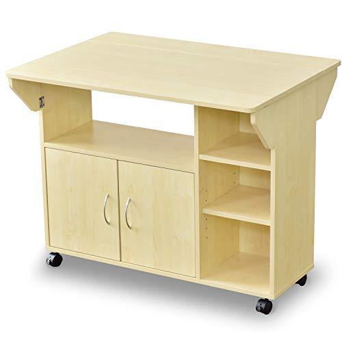 DORIS キッチンワゴン カウンターテーブル キッチンカウンター 伸長式 キャスター付き ダイニングに最適 一般的なダイニングテーブルと同じ高さ72.5cm 幅90cm 組立式 ホワイトメープル ポレロ