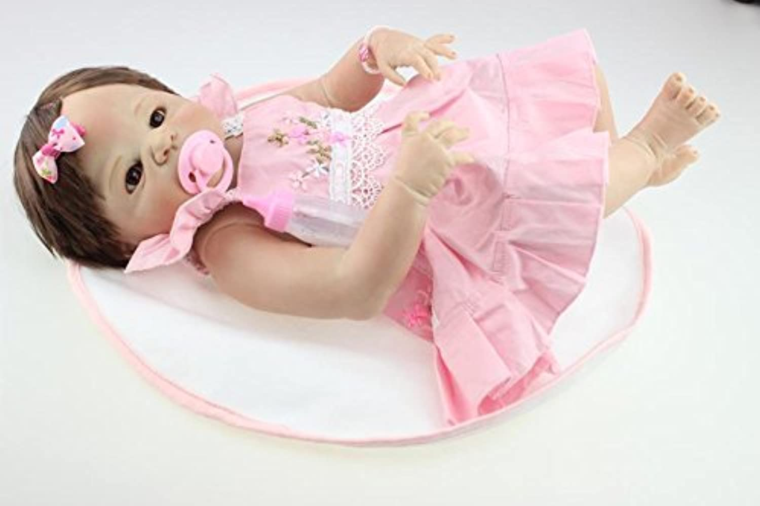手作りガール人形Lifelike Reborn新生児赤ちゃんフルシリコンボディFake Babies 23-inch