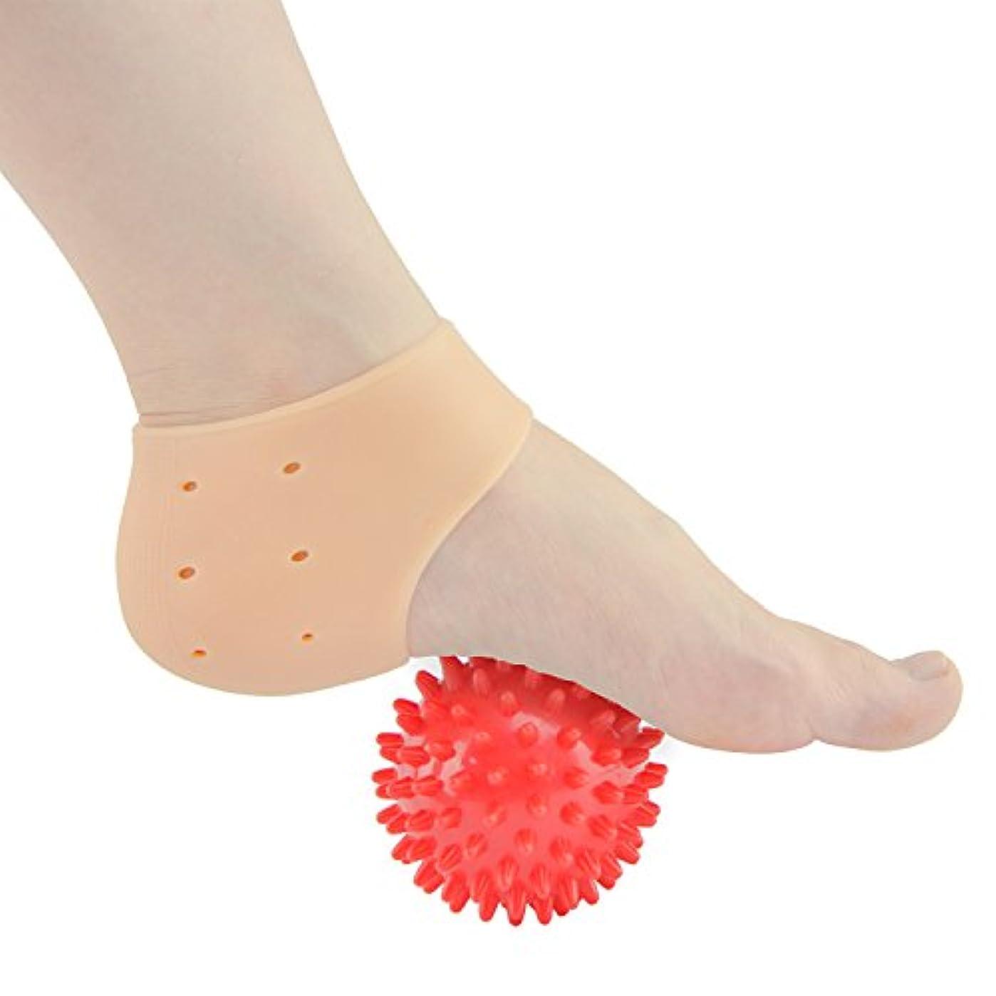 概して柔和娯楽Sumifun かかと保護カバー, 足底筋膜炎治療ラップジェルスリーブフットマッサージ足痛み軽減 かかと痛サポーター 衝撃吸収 ジェルサポーター かかとケア 美足 保湿 かかと靴下