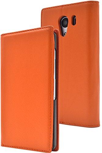 PLATA Y!mobile Android One S2 / SoftBank DIGNO G ( 601KC & 602KC ) ケース 手帳型 ラム シープスキン 羊革 本革 レザー カバー 【 オレンジ 橙 おれんじ orange 】 YAOS2-88OR
