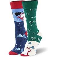 saoinisi Unisexs Christmas Socks,1/2 Pairs Holiday Socks Soft Warm Socks with Christmas Element Pattern S/M/L