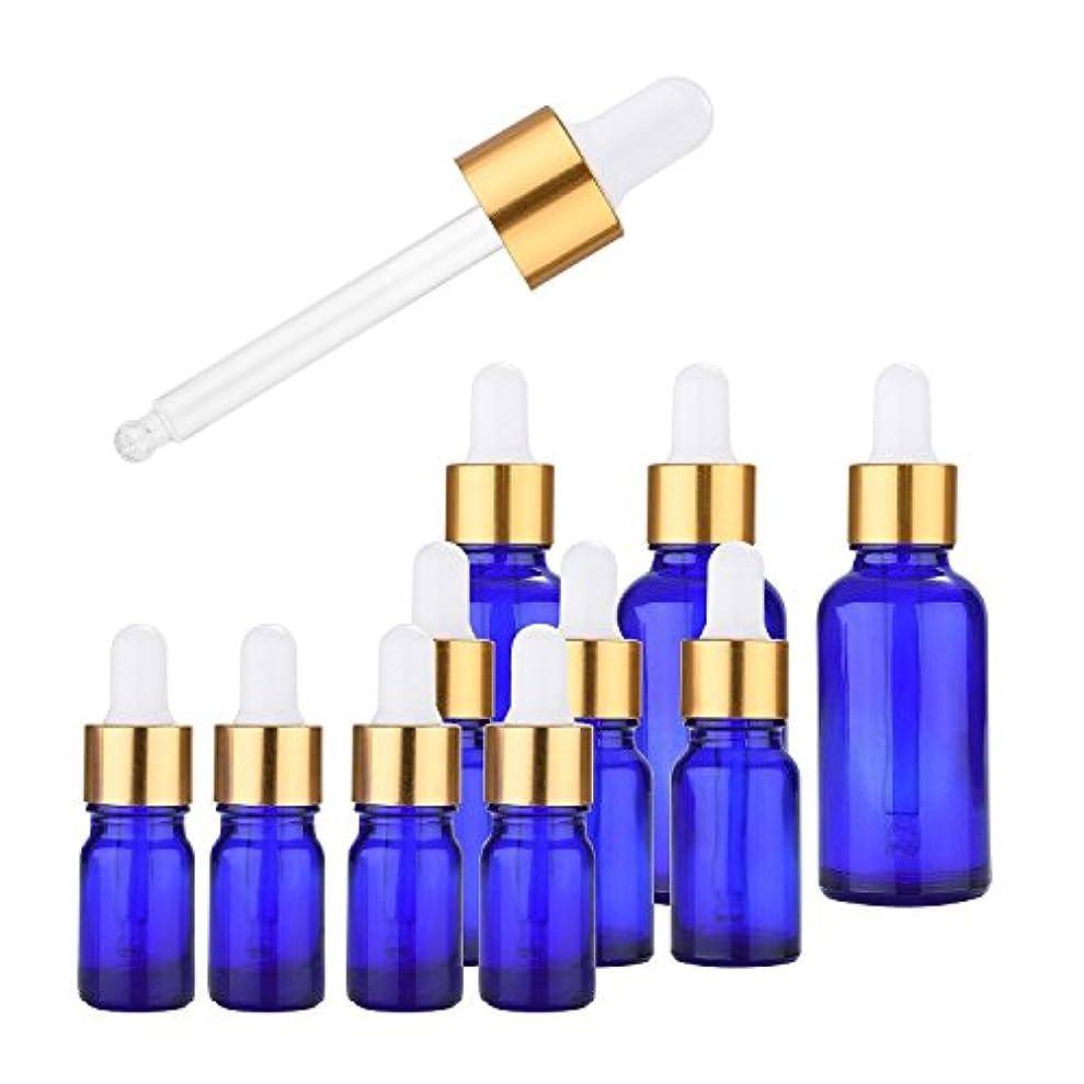 スポイト ガラス瓶 Kalevel 10本セット 遮光性 ボトル 5ml 10ml 30ml 小分け容器 化粧品 クリーム ガラス アロマオイルビン エッセンシャルオイル 瓶 小さい 空き瓶 1枚ネームラベル贈り(ブルー)