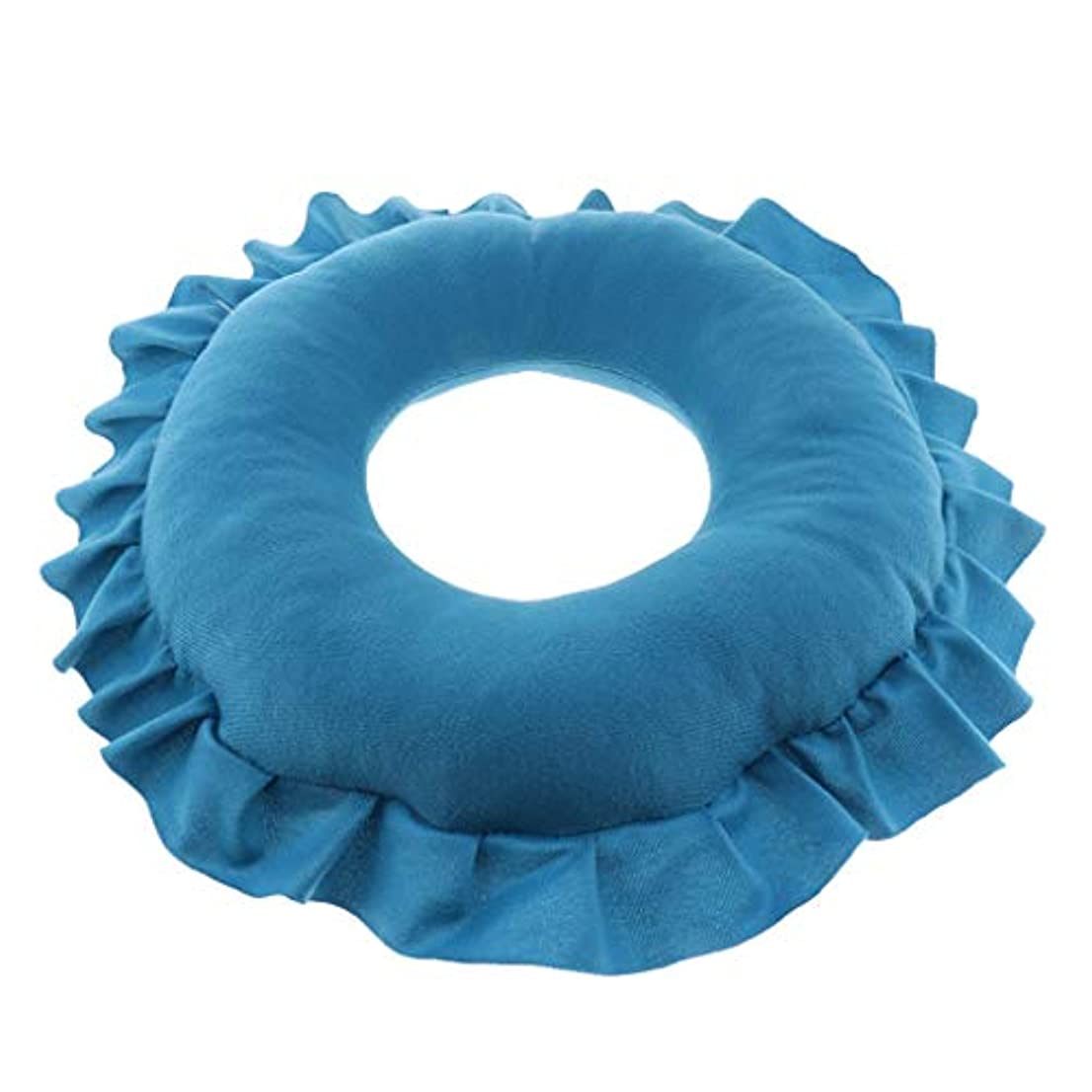 教え単独で因子P Prettyia 顔マク フェイスマット マッサージ枕 顔枕 ラウンド 直径30cm 洗える 柔らかい 快適 全4色 - 青