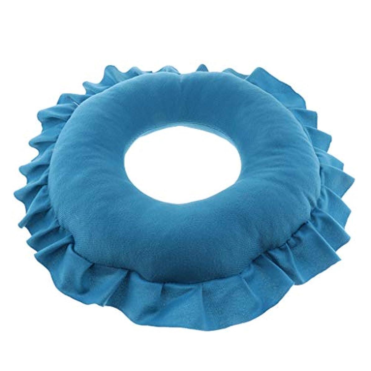 国前部説得P Prettyia 顔マク フェイスマット マッサージ枕 顔枕 ラウンド 直径30cm 洗える 柔らかい 快適 全4色 - 青