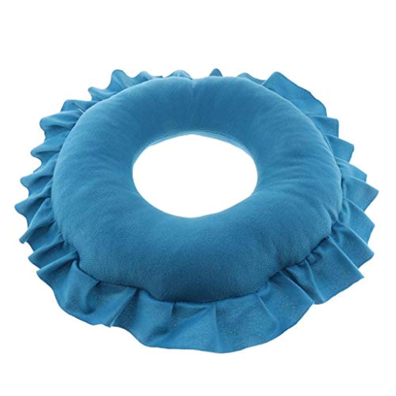 ビット音節好むP Prettyia 顔マク フェイスマット マッサージ枕 顔枕 ラウンド 直径30cm 洗える 柔らかい 快適 全4色 - 青