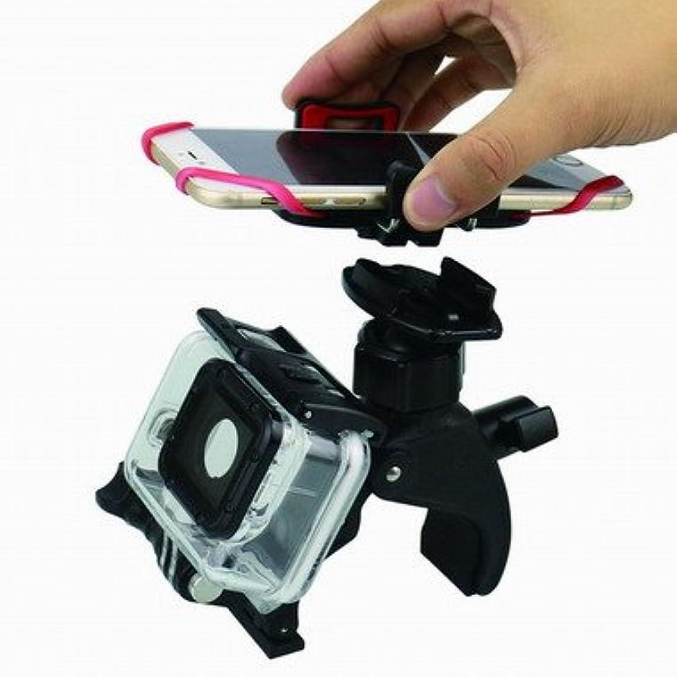 荒廃するポルティコ今日携帯電話スタンド&ホルダーマウント自転車&自転車、ユニバーサルクレードルクランプfor iOS&AndroidスマートフォンとGoProカメラ、ワンボタンリリース、360度回転可能、シリコンストラップ(ブラック)