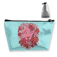 バラのライオン 化粧ポーチ 人気 大容量 台形 メイクポーチ トラベルポーチ 旅行 ハンドバッグ コスメ コイン 鍵 小物入れ 化粧品 収納ケース 小さな化粧品の袋