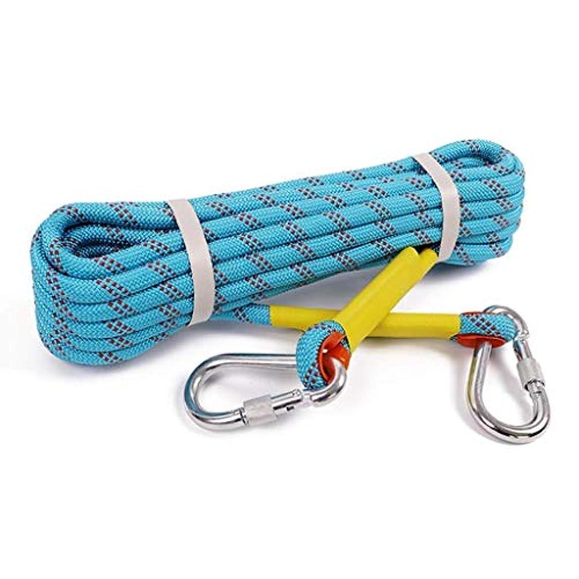 病者群衆重要登山ロープの家の火の緊急脱出ロープ、ハイキングの洞窟探検のキャンプの救助調査および工学保護のための多機能のコードの安全ロープ。 (Color : 青, Size : 10m*8mm)