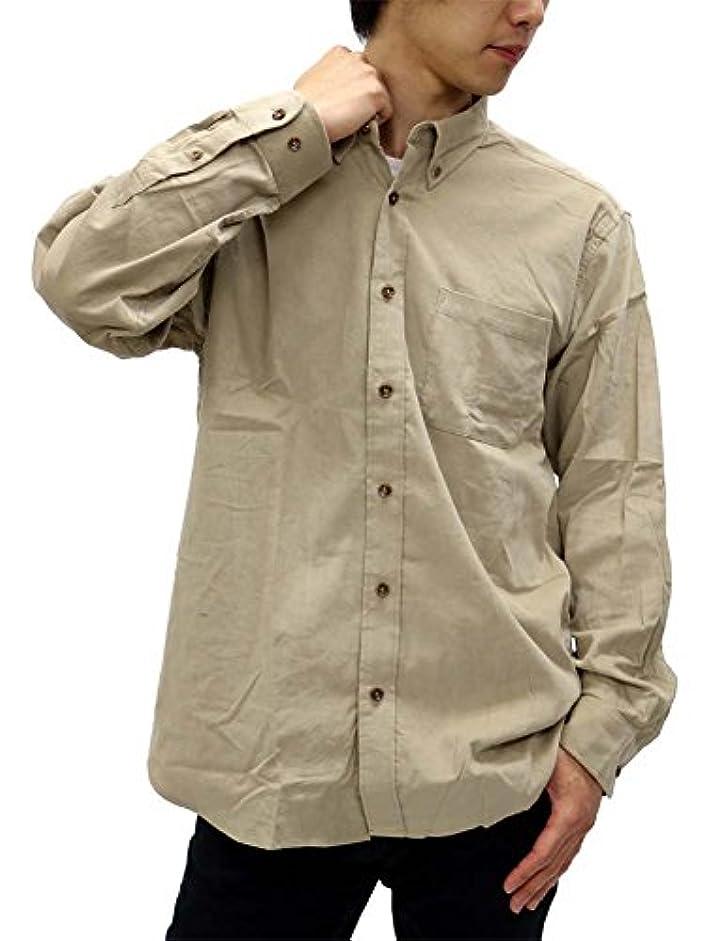 ほかにメロドラマティック旋律的[インアンドヤン] 大きいサイズ メンズ シャツ コーデュロイ ボタンダウン