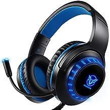【2020進化版】Pacrate ゲーミングヘッドセット PS4ゲーム用ヘッドホンノイズキャンセリングと敏感なマイク付き LEDライト クリスタル ステレオ サウンド 高音質 重低音強化 伸縮可能 軽量 コンピューターとラップトップとMacとPC用 青