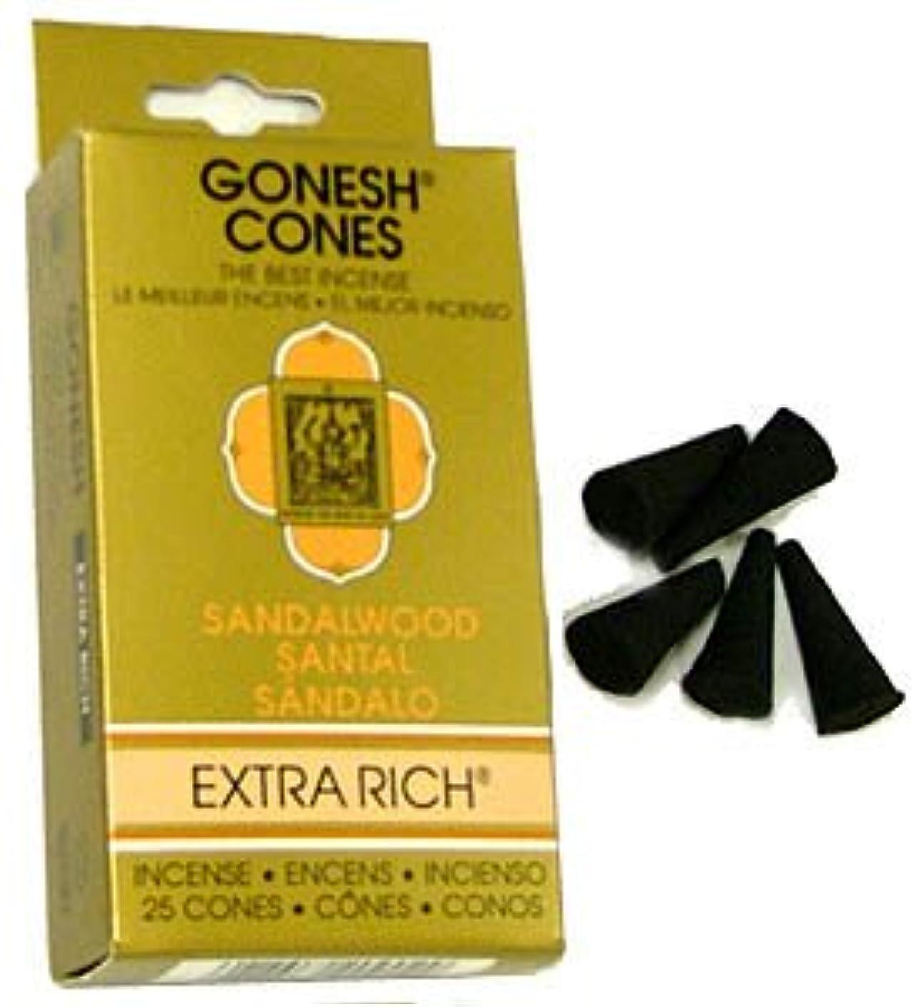 見せますフレッシュわずかなサンダルウッド – Gonesh Incense Cones – パックof 25