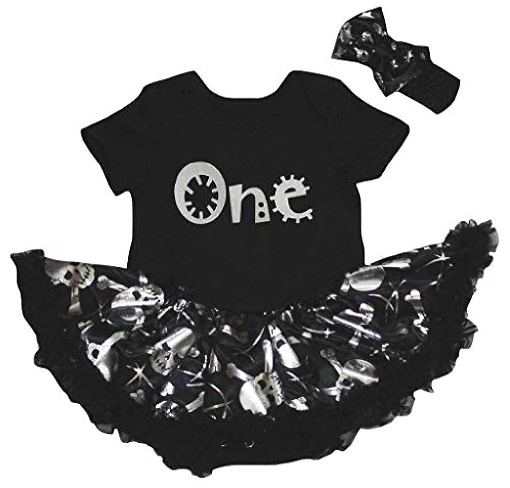 限り摩擦あそこ[キッズコーナー] ハロウィン Silver One シルバースカル 子供ボディスーツ、子供のチュチュ、ベビー服、女の子のワンピースドレス Nb-18m (ブラック, Small) [並行輸入品]