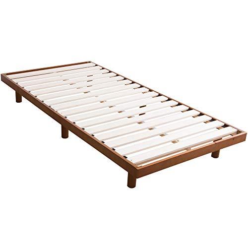 アイリスプラザ ベッド すのこ ダブル 天然木 2段階高さ調整 耐荷重約200kg ウォルナット 幅約140×長さ約200cm×高さ約6.5~23.5㎝