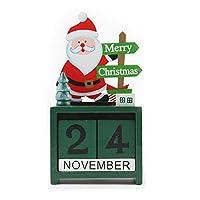 Ungfu Mall ミニ カレンダー 木製 サンタさん トナカイ ホーム オーナメント クリスマス 飾り 贈り物 テーブル 装飾