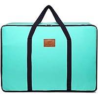 大型収納袋ソリッドカラー高品質オックスフォード布防水防湿ポータブルトラベルオーガナイザー羽毛布団キルト衣類仕上げ荷物収納袋 (色 : 青, サイズ さいず : 50 * 20 * 40cm)