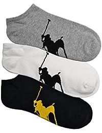 (ポロ ラルフローレン) POLO RALPH LAUREN メンズ 靴下 ( 3足セット ) ビッグポニー アンクル ソックス アソート 白 黒 灰色 [25cm-30cm][827025PKAS] [並行輸入品]