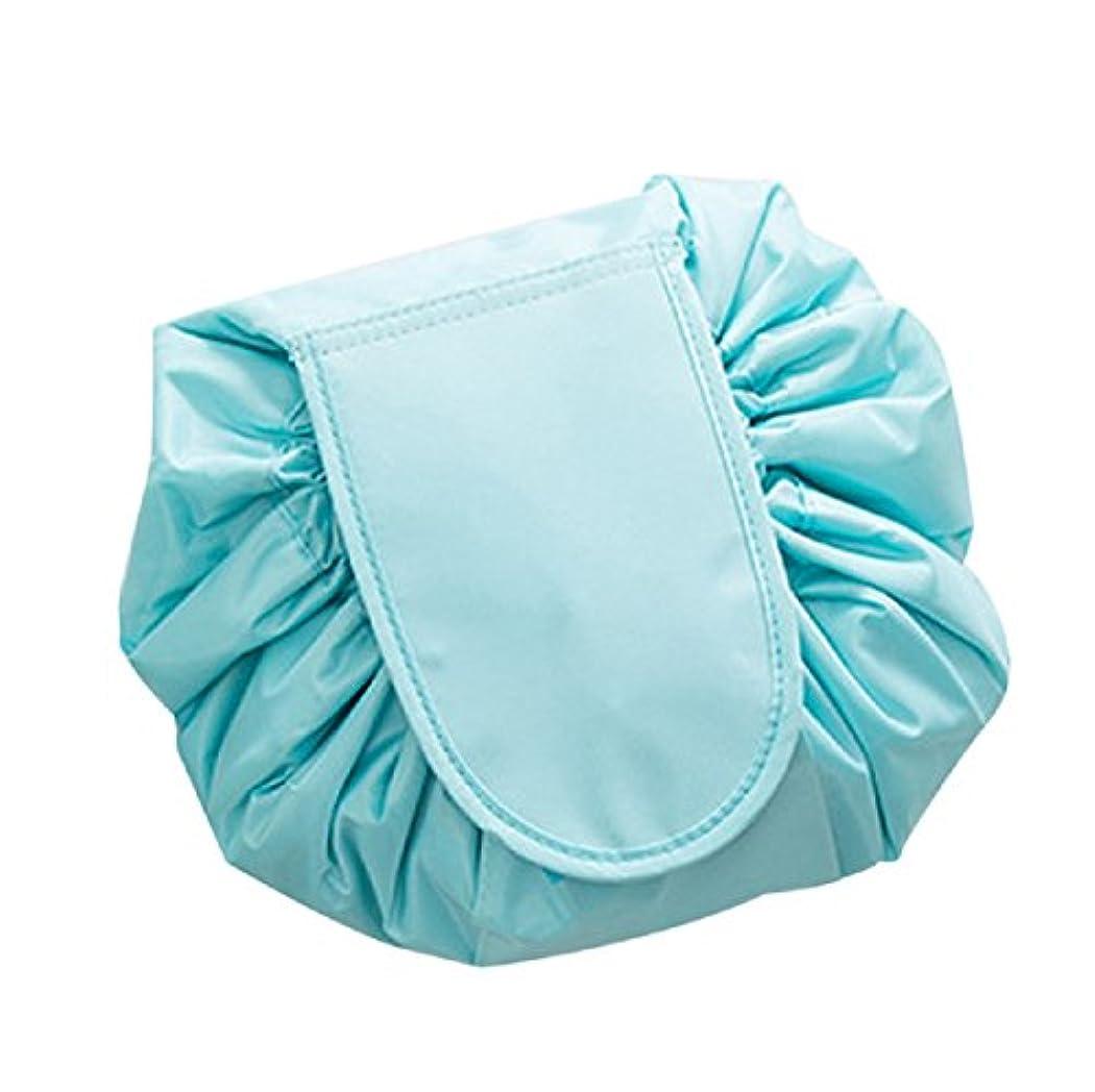 YOKINO 旅行メイクバッグ 旅行化粧バッグ メイク 化粧ポーチ 大容量 巾着 マジックふろしきポーチ 風 収納バッグ (ブルー)