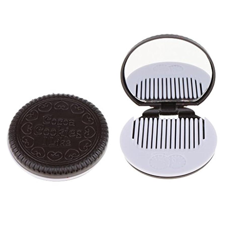 連続的間違えたリレー2個入 メイクアップミラー 化粧ミラー 化粧鏡 コーム ポケットサイズ 可愛い ラウンド 折りたたみ 全4色 - コーヒー