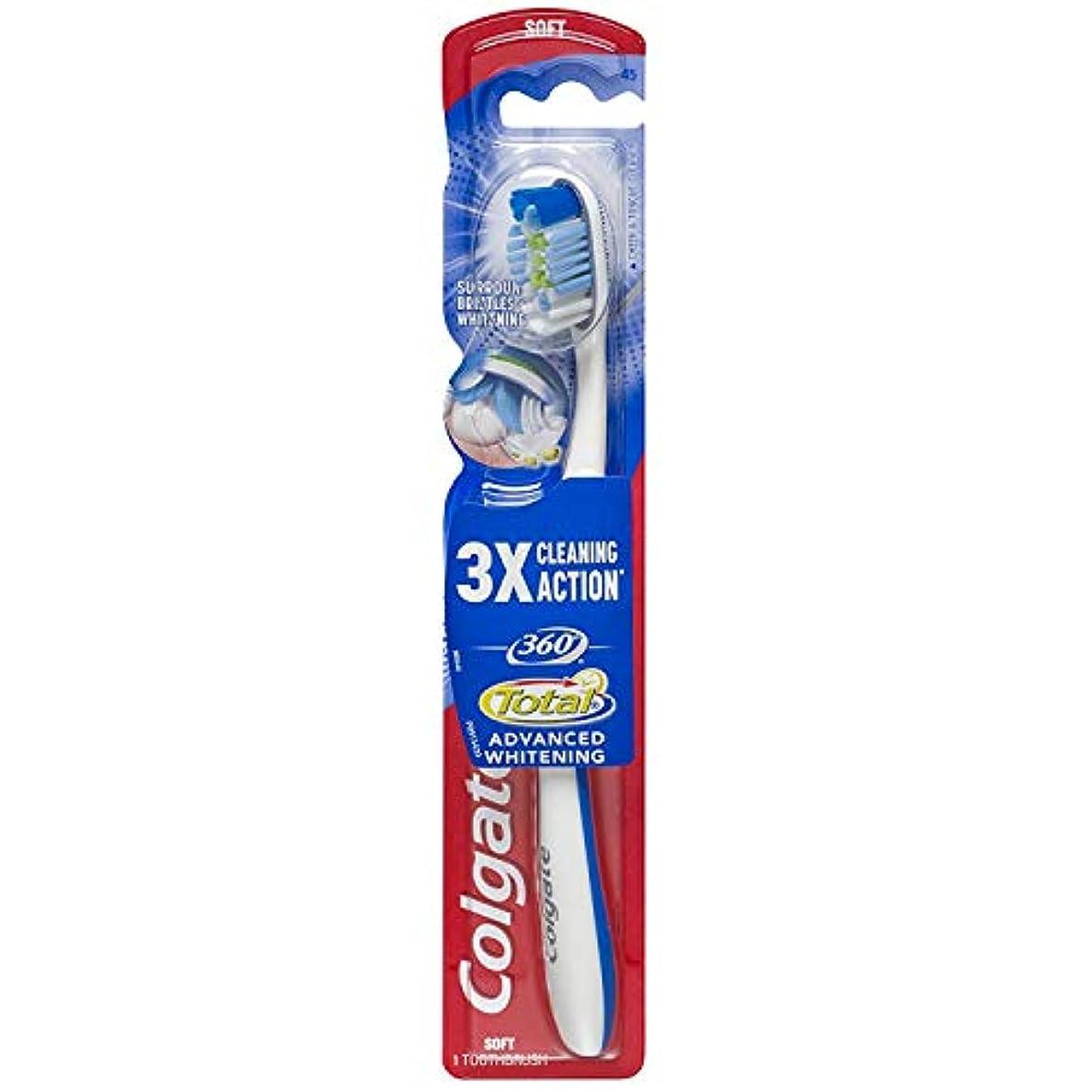 飾る引く講義Colgate 360合計アドバンスト完全な頭部歯ブラシ、ソフト(5パック)
