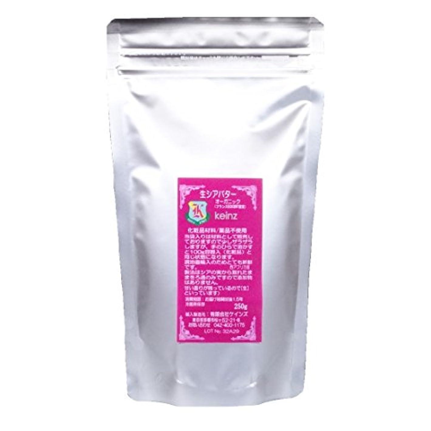 報告書ヒゲクジラ策定するkeinz 【良質/新鮮】生シアバター 【オーガニック】250g チャック袋入 ケインズ正規品 新鮮です 完全無添加 天然100%【送料込】日本製