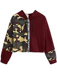 レディースプルオーバーセーターシャツカモプリントパッチワークレターフード付き