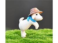 Cute Fairy Garden Ornamentsミニチュア動物犬Wearing Hat盆栽ドールハウスの装飾ガーデンホーム(ベージュ) の装飾