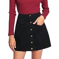 SheIn Women's Casual Button Up Patch Pocket A Line Short Skirt