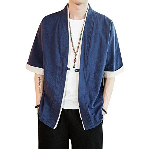 メンズ 和式パーカー 夏 五分袖 カーディガン コート 無地 和風 羽織 一つボタン シンプル トップス ゆったり カジュアル おしゃれ 大きいサイズ 個性 蓝 L