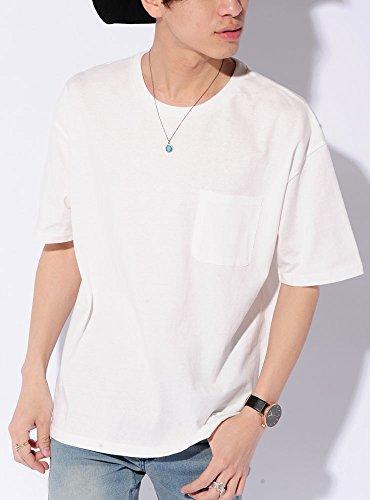 ホワイト XL (ベストマート)BestMart 綿 100% ワイド シルエット 無地 半袖 Tシャツ ポケット メンズ コットン ビッグ ビック カットソー U首 クルーネック Uネック 丸首 ティーシャツ 半そで 半袖カットソー 半袖Tシャツ 622399-007-201