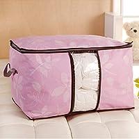 毛布 寝具 収納 ケース 収納袋 肌掛け布団 タオルケット 敷きパッド などの寝具収納に 通気性抜群 (ピンク)
