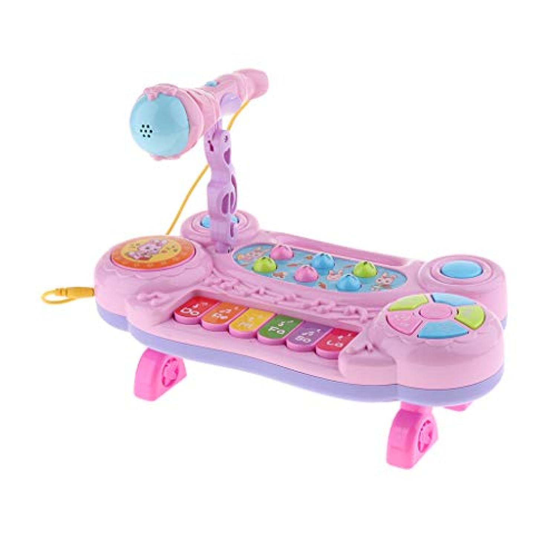 B Blesiya 楽器玩具 キーボード ピアノ マイクロフォン 子供おもちゃ - ピンク