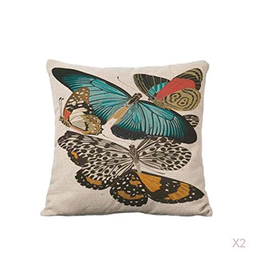 FLAMEER 蝶の綿の腰投げ枕カバーソファのクッションカバー家の装飾#1