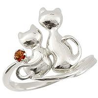 [アトラス] Atrus ネコ の ピンキーリング ガーネット プラチナリング ソリティア 一粒の宝石 プラチナ900 Pt900 指輪 18号 一粒宝石とアベック猫のかわいいリング ファッションリング