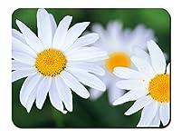 白い花 パターンカスタムの マウスパッド 植物・花 (26cmx21cm)