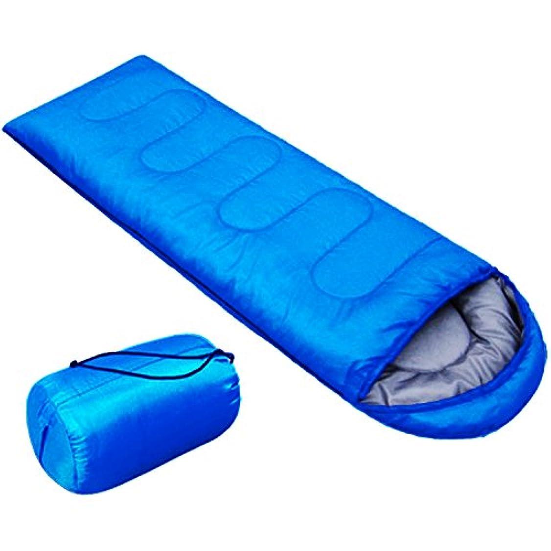 争うユーザーボアABBRA 寝袋 シュラフ 封筒型 丸洗いOK コンパクト 軽量 防水 15℃~5℃ 収納袋付き 夏用 アウトドア キャンプ 車中泊 避難用 青