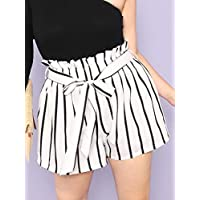 INFASHION Women's Black and White Casual Plus Vertical-Stripe Frill Belted Shorts with Be