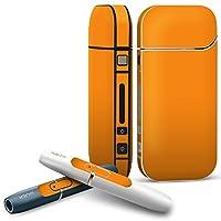 IQOS 専用 COMPLETE アイコス 専用スキンシール 全面セット サイド ボタン スマコレ チャージャー カバー ケース デコ オレンジ 単色 シンプル 012231