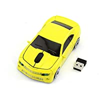 RUUNNER かっこいい 車 ワイヤレス マウス 車型 無線マウス 4色選べ クール スポーツカー コンパクト 小型 軽量 持ち運び便利 USB 2.4GHz 光学式 高精度 受信範囲10M (イエロー)