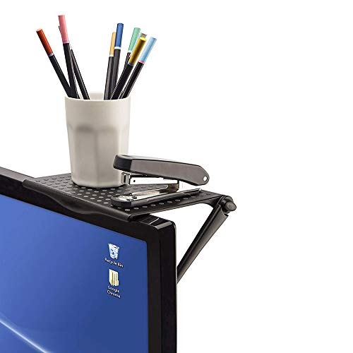 テレビの上に棚 スクリーンシェルフ テレビ 上 棚 ディスプレイボード オフィス収納 オフィスアクセサリー オフィスアクセサリー ディスプレイ 棚 横幅16cm ×奥行12.7cm (ブラック) CPY-1102