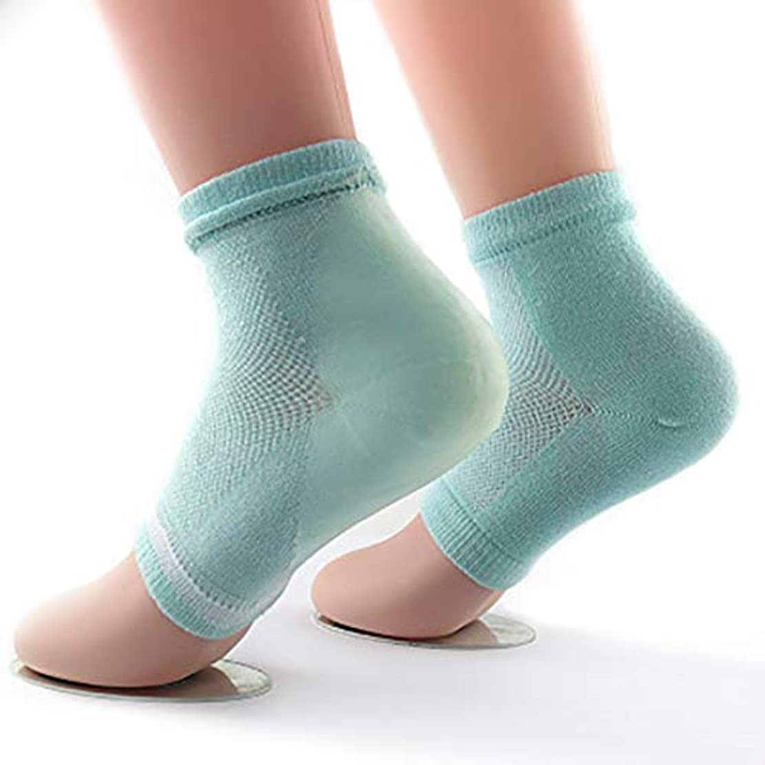冷蔵庫してはいけない明るいかかと 靴下 ソックス かかとケア 保湿 美容 角質除去 足SPA 足ケア 男女兼用 (グリーン)