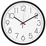 Ryuan Modern Wall Clock, Silent Non-Ticking Decorative Battery Operated Wall Clocks for Living Room, Office, Bathroom, Kitchen, Thicken Plastics Frame Glass Cover (Black)