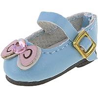 ノーブランド品 かわいい 人形 靴 ちょう結び アンクル ストラップ  PUレザー シューズ 12インチ ブライスドール適用 3色選べる - ブルー