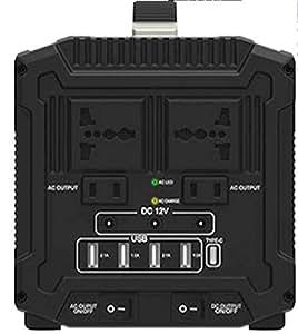超大容量ポータブル電源 日本仕様AC100V最大1000W UPS 500W以下 600Wh DC12V15AUSB UPS停電電源装置 別売ソーラーパネル停電防災対策 蓄電池 発電機 防災グッズ 蓄電池 無 (周波数 50Hz)