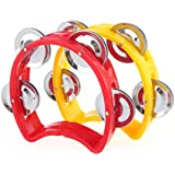 Musiclily Plastic Handheld Tambourine Percussion Jingles Musical Instrument for Kids and Adults, Red/Yellow(Pack of 20)