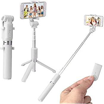 自撮り棒 Bluetooth 三脚 セルカ棒 コンパクト ワイヤレスリモコンシャッター セルフィースティック 伸縮自由 デュアル360度回転 iPhone Android 対応 白 (白)